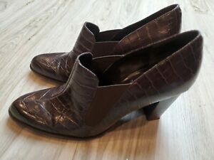 Enzo Angiolini Reptile Leather Ladies Shoe Size 7.5 M Brown  Heels Women's
