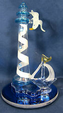 Light House with Sail Boat and Sea Gull Hand made Glass Figurine Sealife
