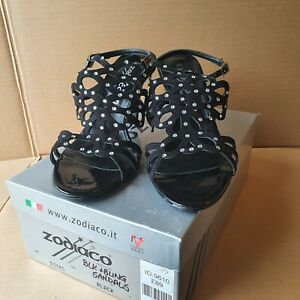 Zodiaco Strapy Black Jewelled Heeled Open Toe Sandals - Uk Size 7 Made In Italy