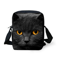 Small Messenger Women Men Boys Black Cat Shoulder Bag Cross-body Satchel Handbag