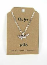 """Cute Silver Little Fox Necklace on """"Oh, For Fox Sake"""" Card New Funny Gift"""