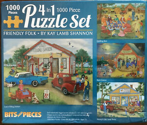 Friendly Folk -4 1000 Piece Puzzles Bits And Pieces. Preowned