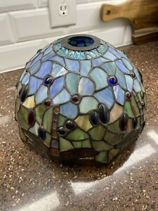 """10"""" Vtg Tiffany Style Dragonfly Stained Glass Lamp Shade Jeweled"""