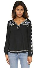 Velvet Women's Chantel Embroidered Blouse, Black, X-Small Msrp $174