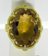 Spectacular Judith Ripka 18 Kt Yellow Gold Diamonds Smokey Quartz Ring 7