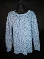 LL Bean PL Blue Cotton Ragg Sweater Marled Knit LP Petite L Lightweight Womens