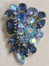 Vintage Jewelry WEISS Brooch Shades of Blue Rhinestones Navettes Teardrops +
