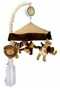 Lambs & Ivy Safari Jungle Animals Musical Mobile, Chocolate/Beige FACTORY SEALED