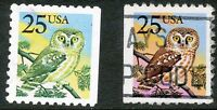 USA 1988 25 (C.) Owl (Bird) VFU, MAJOR ERROR/VARIETY:   MISSING COLOUR RED
