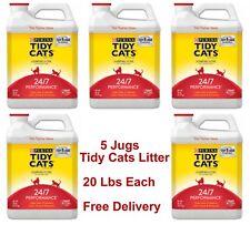 5 Purina Tidy Cats Litter, 24/7 Performance Multi Cat Clumping Litter, 20 lb Ech