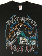 Vintage Mens L 80s 90s Motorcycle Motor Psycho Mania Scary Demon Graphic T-Shirt