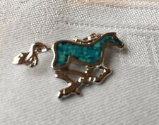 Vintage Pendant of a Horse, turquoise, handcrafted in the 70s