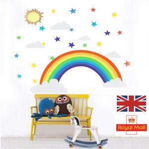 Rainbow Clouds Stars Coloured Wall Art Sticker Vinyl Decal Nursery Kids Bedroom