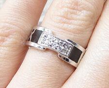 Numerals Band Ring Sz 6 - Rg1966 925 Silver - White Cubic Zirconia Enamel Roman