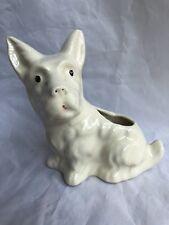 Vintage White Scottie Westie Dog Art Pottery Planter Cream