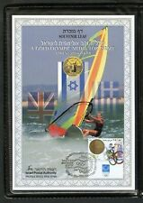 ISRAEL 2004 GOLD MEDAL OLYMPIC SOUVENIR LEAF#483 AND CORRESPONDING FDC IN FOLDER