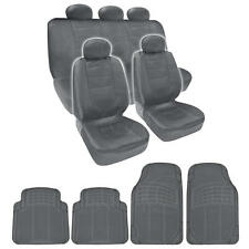 Full Set Gray PU Leather Seat Covers & Gray 4pc Odorless Mats BDK design