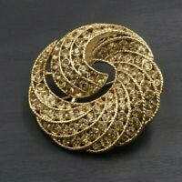 Vintage Brooch Pin Filigree Swirl Orange Rhinestone Gold tone Jewelry c38