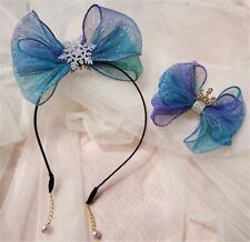 Girls Blue Bow ribbon FROZEN ELSA Hair Clip or Headband Hairband Hair head band