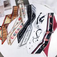 Fashion Women Silk Satin Skinny Scarf Twilly Printed Bag Handle Wrist  Ribbon