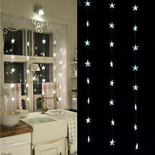 80led White Star Curtain Strings Light  Decorative Lights for Wedding Party Home