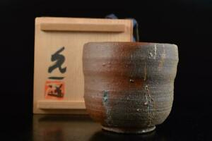 L438: Japanese Bizen-ware Youhen pattern Sencha TEACUP Yunomi w/signed box