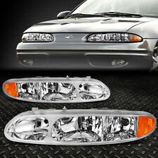 For 99-04 Oldsmobile Alero Pair Chrome Housing Amber Corner Headlight Head Lamps (Fits: Oldsmobile Alero)