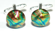 BEAUTIFUL MULTI COLOR FUSED GLASS CUFF LINKS (230)