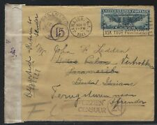 1941 #C24 Air Mail Cover - Dutch Guiana Censored - Returned to Sender