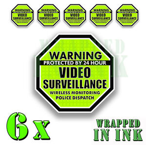 """Warning 24 hour Video Surveillance Security Stickers GREEN OCT Decal 6 PACK 2"""""""
