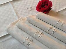 5 serviettes de table Chiffrée PD Damas lin Décor damier 1392/115-5 Linge ancien