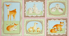 Robert Kaufman Fawns and Friends Animals 100% cotton Fabric by the Panel 22.5""
