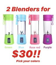 380ml Two Portable Personal Blenders Juicer Mix Blend Rechargeable Jet Cordless