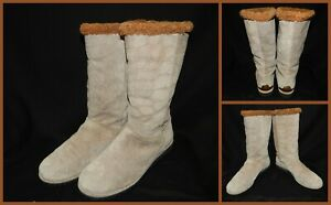 Stuart Weitzman Womens 9 M Beige Suede Comfort Boots Faux Crocodile Fur Lined