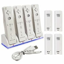 4 Rechargeable Battery + Charger Dock Station for Nintendo Wii Remote Controller