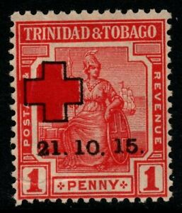 TRINIDAD & TOBAGO SG174b 1915 RED CROSS 1d RED FORKED FOOT VAR MNH