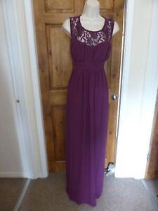 Pretty dark purple chiffon lace detail evening dress from Babyonline size 14