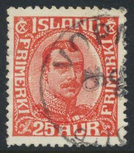 Iceland Scott 121/Facit 135, 25 aur red Christian X, F-VF used