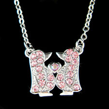 w Swarovski Crystal Pink ~Emperor Penguin Antarctica Love Heart Family Necklace