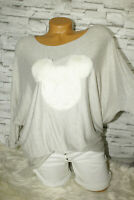 Italy Pulli Pullover Gr. 36 38 40 42 Vintage beige Mickey Mouse Plüsch blogger