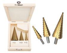 3Pcs HSS passo cono Trapano Titanio Rivestito Foro Cutter Bit Set 4-12 4-20 4-32mm