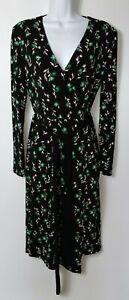 M&S Deep V Neck Longsleeve Leaf Design Floral Stretch Wrap Over Dress UK 10 A087