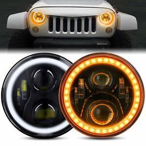 """7""""Inch Round LED Headlights Hi-Lo Halo Angel Eyes Turn Light for GQ PATROL AU"""