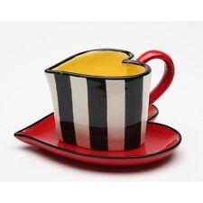 Nuovo Set di 2 Pezzi a Forma Cuore Nero + Bianco Righe con Giallo + Rosso Teacup