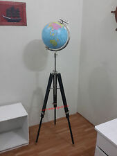 NAUTICAL WORLD GLOBE IN SILVER FINISH WOODEN TRIPOD STAND BLACK