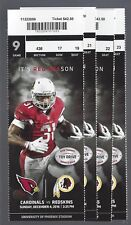 2016 NFL WASHINGTON REDSKINS @ ARIZONA CARDINALS FULL UNUSED FOOTBALL TICKETS(4)