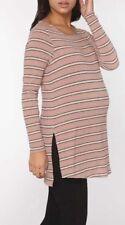 Dorothy Perkins - Maternity Pink/BlackStriped Ribbed Tunic - Size 12 - BNWT