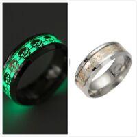 Luminous Skull Classic Retro Punk Titanium Ring Male Stylish Jewelry Ring GO9