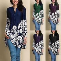 Women's Vintage Long Sleeve Tunic Tops Plus Baggy Casual Loose Blouse T-Shirt