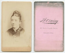 CDV STUDIO PORTRAIT LADY W/ CROSS NECKLACE FROM PHILLY, PA, BY HORNING